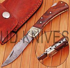 CUSTOM HAND FORGED DAMASCUS STEEL BACK LOCK POCKET FOLDING HUNTING KNIFE M-4706