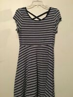 So Size L Navy Cream Stripe Girls Kids Flare Cross Back Dress Stylish