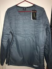 Mens Nike Thermore Run Division Tech Wind Water Repel Crew Jacket Blue $115 Nwt