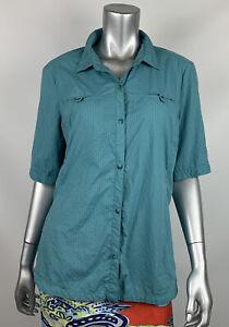 REI Button Front Shirt Womens XL Teal Short Sleeve Collar Lightweight Outdoor