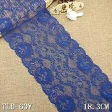 """3yd 7.2"""" blue Floral Stretch Lace Fabric DIY Sewing Wedding Bridal Dress L2906"""