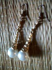 Orecchini con Perle Grandi e Smalto in Stile Antico Lunghi Pendenti Vintage