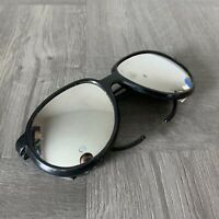 Vintage Aviator Style Sunglasses Mirrored Lens Leather Side Shields Marked Nylon
