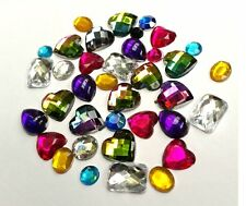 100 x Mixed Diamante Rhinestone Gem Shapes Card Toppers Flat Back