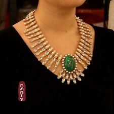 Collier Mini Perle Art Deco Vert Retro Moderne Original Soirée Mariage OSC 5