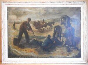 Gathering Seacoal, Lynemouth. Original Oil circle of Oliver Kilbourn, circa 1940