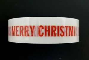 """2x roll Christmas Printed craft adhesive tapes Red """"Merry Christmas"""" message"""