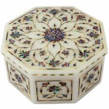 "5"" Marble Jewelry Box handmade semi precious stones inlay art pietradura"