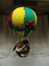 CHRISTMAS FIBER OPTIC HOT AIR BALLOON BEAR/SANTA  OLDER NICE FREE SHIPPING