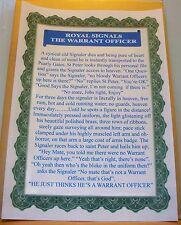 Royal Signals Warrant Officer Joke..