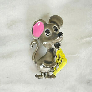 Vtg Mid Century Gerry's MOUSE CHEESE Animal Brooch Enamel Pin Jewelry 50s 60s ?