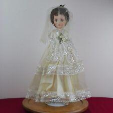 "Vintage Bride Doll 19"" Lace Dress Pearl Earrings Rubber/Plastic"