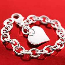 S/F Solid Heart Charm Design Fs3An727 Bracelet Bangle Real 925 Sterling Silver