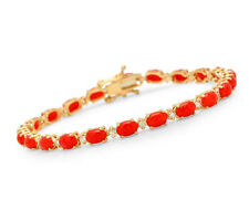 11.50Ct Natural Coral and Diamond 14K Solid Yellow Gold Bracelet