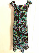 DANNY & NICOLE WOMENS LADIES LINED BROWN & TEAL WASHABLE SPRING SUMMER DRESS 16