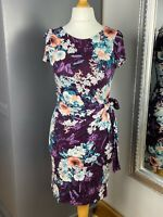 Womens Wallis Cap Sleeved Butterfly Dress Size 10  Mauve Mixed Colour Floral