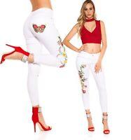 Jeans donna pantaloni aderenti elasticizzati ricamati skinny fiori&farfalla nuov