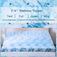 2.5/3/4 Inch Gel Memory Foam Mattress Topper Blue Swirl Lavender Queen King Twin