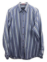 Bugatchi Uomo Button Down Dress Shirt Mens Large Blue Striped 100% Cotton Euc