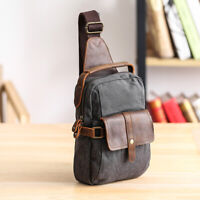 Canvas Real Leather Sling Bag One Strap Backpack Rucksack Chest Pack Vintage