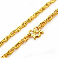 Pure 999 24k Yellow Gold Necklace/ Singapore Rope Chain Necklace/ 10.5g