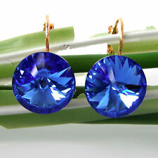 Navachi Blue 18K Yellow GP Crystal Sapphire Zircon Leverback Earrings BH2844