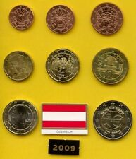 Tira De Euros 2009 Austria Osterreich  S/C 8 Valores, De 1 Centimo A 2 Euros