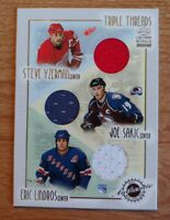 STEVE YZERMAN JOE SAKIC ERIC LINDROS 2002 CROWN ROYALE TRIPLE THREADS RELIC #11