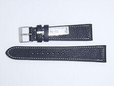 "FLUCO Genuine Vintage Leather Watch Band Strap 20 mm Black ""Montana-Ziege"""