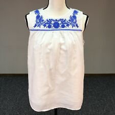 J. CREW White Sleeveless Women's Embroidered Linen Blend Tank Top Size 10