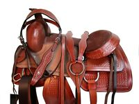 DEEP SEAT WESTERN ROPING SADDLE 15 16 17 FLORAL TOOLED LEATHER RANCHER TACK SET