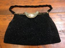 Vtg French Antique Victorian Micro Beaded Filigree Rhinestone Cameo Silk Purse