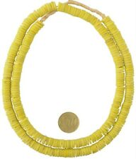 glass beads yellow disks spacers necklace Old African trade beads Czech Bohemian