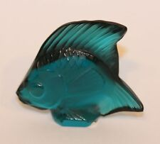 Signed Lalique France Crystal Poisson Angel Fish Figurine Turquoise Blue 30025