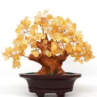 Natural Citrine Quartz Crystal Gemstone Feng Shui Bonsai Lucky Tree Home Decor