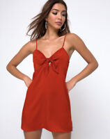 MOTEL ROCKS Roppan Knot Tie Dress in Satin Rust  (mr78)