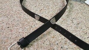 Oakland Raiders Leather Mens Belt Black with Conchos Size 28 to 46 Silver