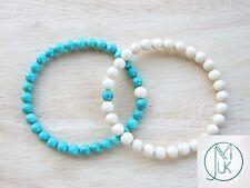 Couple of Turquoise/Fossil Natural Gemstone Bracelets 7-8'' Elasticated Healing