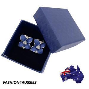 Gorgeous Women Navy Blue Flower Earrings Crystal Wedding Party Jewellery