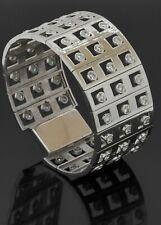 Heavy 18K white gold 6.0CT VS diamond 27.5mm wide bangle bracelet