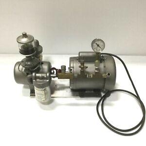 GAST 0765-V7 Rotary Vane Vacuum Pump W/Dayton 1/4hp Motor, 28inHG, 6.0CFM @ 60Hz