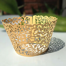 Filigree Vine Lace Laser Cut Cupcake Wrappers Cases Wedding Birthday 12pcs Gold