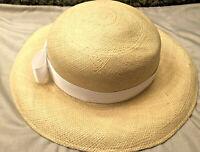 Vintage 1990s HALSTON NATURAL Straw Hat EUC