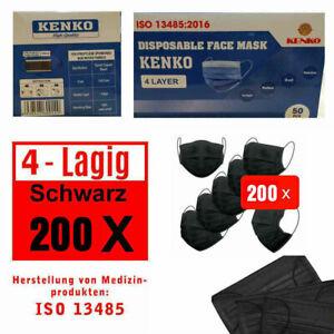 200 Stück ISO NORM Zeichen Schutz-Masken Mundschutz-Maske 4 Lagig Einwegmaske