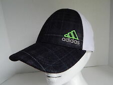 "ADIDAS Climalite A Flex Adult S/M 22"" Black Plaid White Baseball Cap Hat"