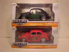 2 Pack of 1959 VW Bug Volkswagen Beetle Diecast Car 1:24 Jada Toys 7 inch Flames