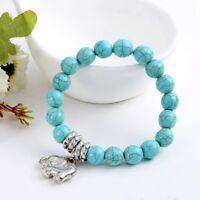 Howlite Gemstone Beads Women Pendant Bead Elephant Turquoise Stone Bracelet