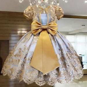 Girls Elegant Princess Children Party Dresses Wedding Ball Gown Size 4-11