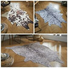 FAUX WILD ANIMAL SKIN DESIGN ZEBRA COW LEOPARD PRINT QUALITY DURABLE RUG MAT