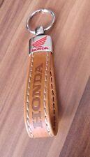 Motorcycle Motorbike Brown Eco Leather Honda CB CBR chrome wing logo Key ring